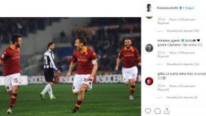 """Totti, siparietto Instagram con Pjanic: """"Auguri anche se... in ritardo!"""""""