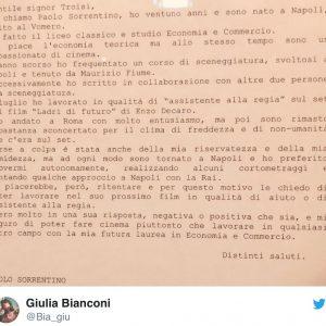 """Paolo Sorrentino, la lettera inedita a Massimo Troisi: """"Mi piacerebbe lavorare con lei"""""""