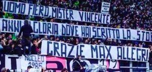 Allegri, addio alla Juventus strappalacrime: striscione e standing ovation