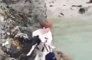 Cane gettato giù dalla scogliera: il giovane ride, la polizia lo rintraccia