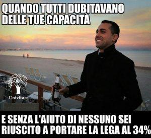 """Europee 2019, Di Maio meme sui social: """"Ho portato la Lega al 34%..."""""""