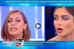 """Domenica Live, Ambra Lombardo sotto accusa. Karina Cascella attacca: """"Bacio a Kikò solo per..."""""""