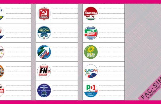 Il fac simile della scheda elettorale per le elezioni europee del 2019, la pagina con le liste