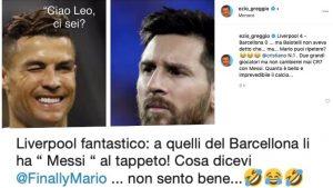 """Ezio Greggio prende in giro Balotelli: """"Ma non avevi detto che Messi era meglio di Ronaldo?"""""""