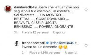 """Francesco Totti difende Ilary Blasi su Instagram: """"Tu sei un demente"""""""