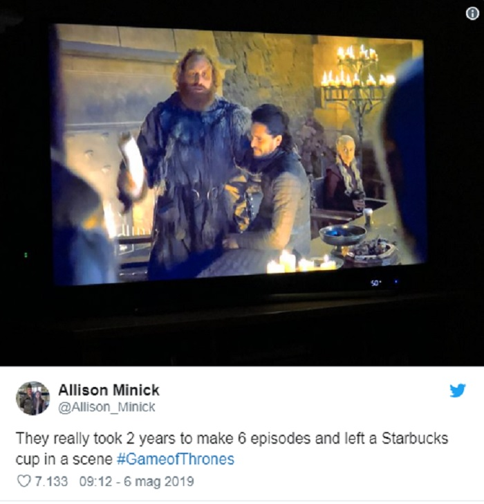 Games of Thrones, bicchiere Starbucks appare per sbaglio in un episodio2