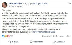 Monopoli, le rubano pc con foto figlia morta: appello mamma su Fb