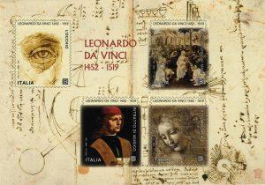 Leonardo, 4 francobolli emessi nel 5 centenario della scomparsa. L'annullo nelle Poste degli Uffizi