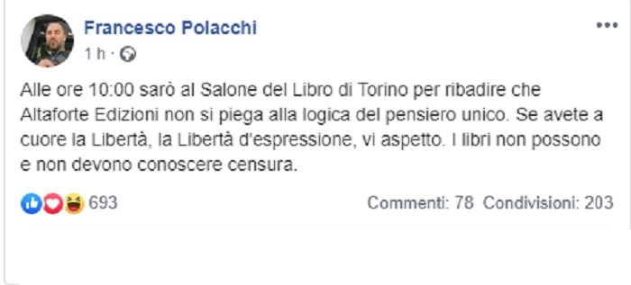 """Salone del Libro, Francesco Polacchi (Altaforte) sfida l'esclusione: """"Non mi piego, ci sarò"""""""