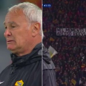 Curva Sud gli dedica striscione, Claudio Ranieri in lacrime in campo FOTO