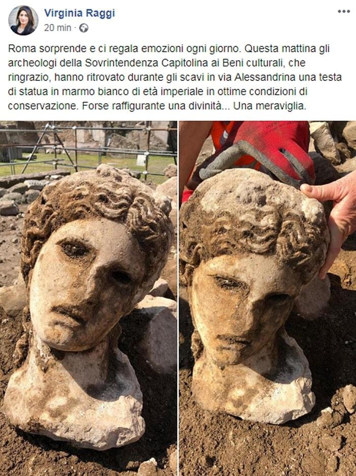 Roma, scavi sotto al Campidoglio: trovata testa di divinità in marmo bianco