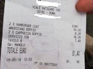 Roma, l'ennesimo scontrino pazzo: 2 hamburger e 2 caffè, 81,60 euro