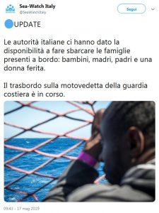 Sea Watch, Viminale autorizza lo sbarco a Lampedusa di sette bambini con i genitori