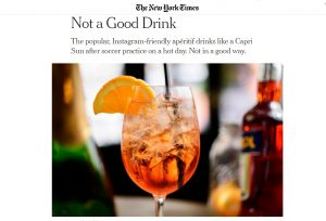 Spritz stroncato dal New York Times: non è un buon drink