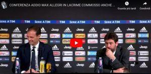 """Allegri commosso: """"Il mio addio deciso dalla Juve. Giocare bene e perdere non fa per me..."""""""