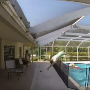 bimbo cade piscina