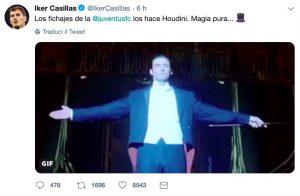 """Casillas post strano sulla Juventus: """"I loro acquisti li fa Houdini, pura magia"""""""