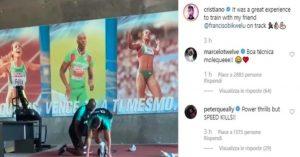 Cristiano Ronaldo si allena con il velocista Obikwelu, la foto su Instagram
