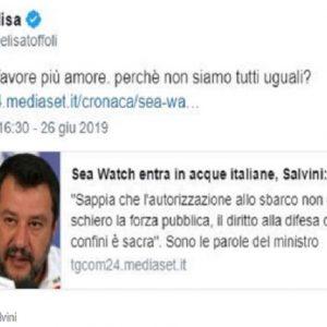"""Sea Watch, Elisa contro Matteo Salvini: """"Perché non siamo tutti uguali?"""""""