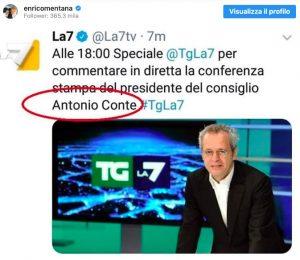 Enrico Mentana, l'Inter di Antonio Conte è un pensiero fisso: che errore su La7