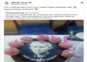 Mariah Carey, l'errore della pasticceria sulla torta per la fan: il volto è quello di Marie Curie