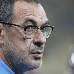 """De Laurentiis: """"Maurizio Sarri urla e... bestemmia. Sarà bello vederlo perdere con Ancelotti"""" (foto Ansa)"""