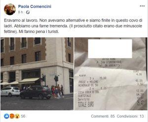 Paola Comencini, il conto salato da 75 euro al bar: Covo di ladri