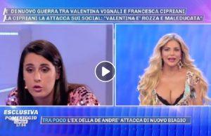 Pomeriggio 5, Francesca Cipriani contro Valentina Vignali. Taylor Mega fa da paciere