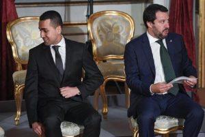 """Salvini e Di Maio, incontro a Palazzo Chigi. Il ministro dell'Interno: """"Da M5s ho sentito dei sì"""" (foto Ansa)"""