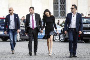 Salvini e Francesca Verdini insieme al ricevimento al Quirinale mano nella mano FOTO