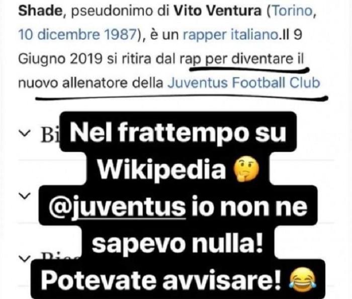 Juventus, su Wikipedia il nuovo allenatore è... il rapper Shade FOTO