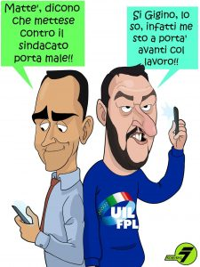 Salvini-Di Maio, striscione ironico FOTO: Uil costretta dalla Digos a rimuoverlo22