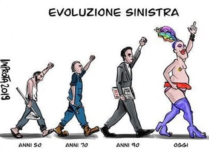 Luca Salerno (Tg2) pubblica vignetta omofoba: la sinistra da operaia a drag queen. Scoppia la polemica, lui la cancella 02
