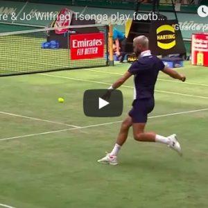youtube Jo-Wilfried Tsonga e Benoît Paire, show a Halle: giocano a calcio con pallina da tennis VIDEO