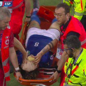 Zaniolo Italia-Spagna, Zaniolo out per infortunio. Ha preso una brutta botta alla testa, poi è uscito per malore