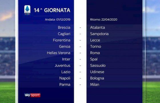 Serie A calendario 2019 2020 14° giornata