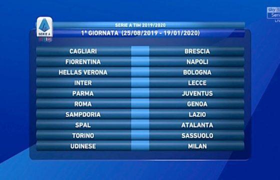Calendario Serie A 1 Giornata.Serie A Calendario 2019 2020 Foto Sorteggio Dalla 1 Alla 38