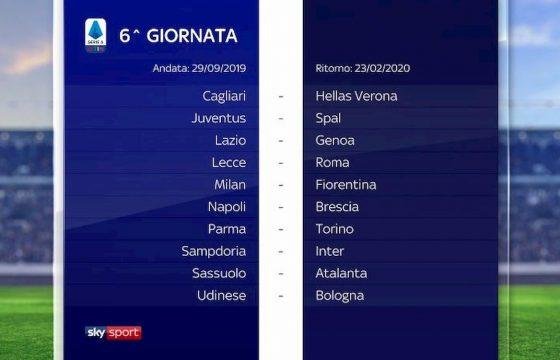 Serie A calendario 2019 2020 sesta giornata
