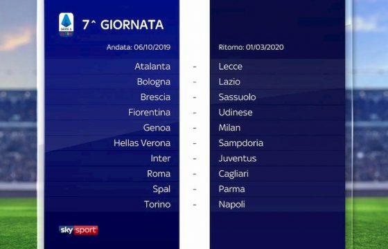 Serie A calendario 2019 2020 settima giornata