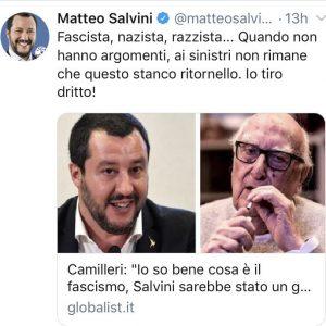 """Camilleri diceva: """"Salvini mi ricorda gli anni 30 del fascismo"""". Salvini omaggia lo scomparso"""