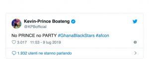 "Ghana eliminato dalla Coppa d'Africa, Boateng: ""No Prince, no party"""