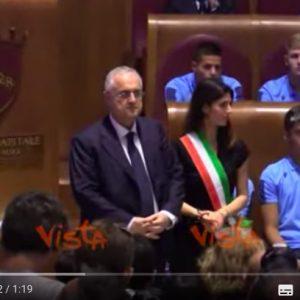Lazio premiata in Campidoglio da Virginia Raggi per trionfo in Coppa Italia VIDEO