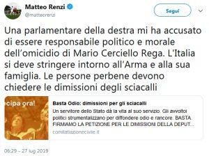 Mario Cerciello Rega, Renzi