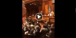 L'occupazione dei banchi del governo al Senato