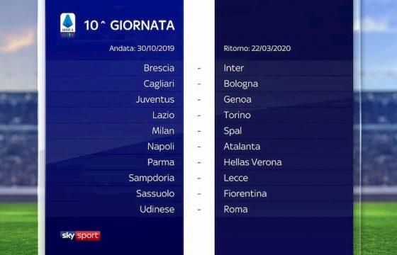 Serie A calendario 2019 2020 10° giornata