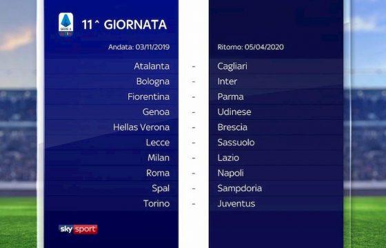 Serie A calendario 2019 2020 11° giornata