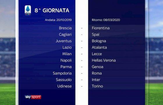 Serie A calendario 2019 2020 8° giornata