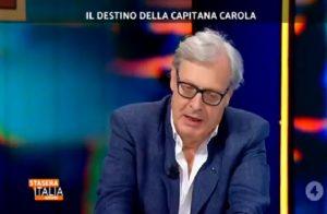 """Stasera Italia, Vittorio Sgarbi: """"Carola Rackete? A favore di una umanità debole"""""""
