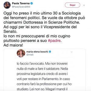 """Paola Taverna a Maria Elena Boschi: """"Mi chiami Dottoressa in Scienze Politiche o Vicepresidente del Senato"""""""