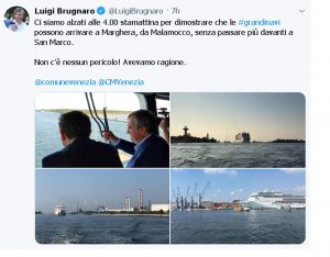 Venezia, sindaco Brugnaro sulla nave da crociera
